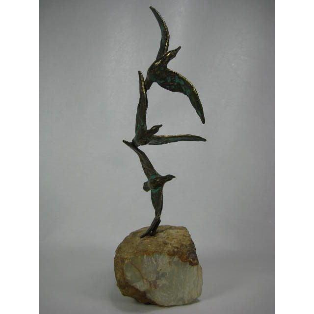 1970s C. Jere Bronze Birds Sculpture on Quartz - Image 4 of 9