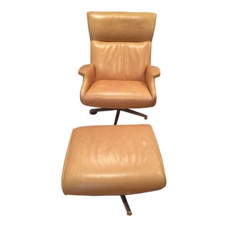 Room & Board Beau Leather Chair & Ottoman