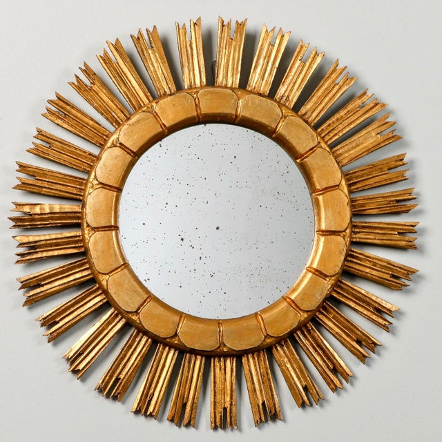 Mid-Century Medium Size Giltwood Sunburst Mirror - Image 3 of 7