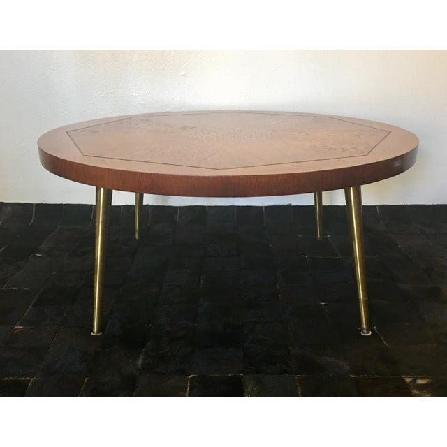 1954 Vintage Lane Walnut Parquetry Coffee Table With Brass