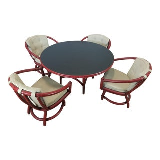 Vintage Ficks Reed Co 1950s Low Dining Table & 4 Swivel Chairs