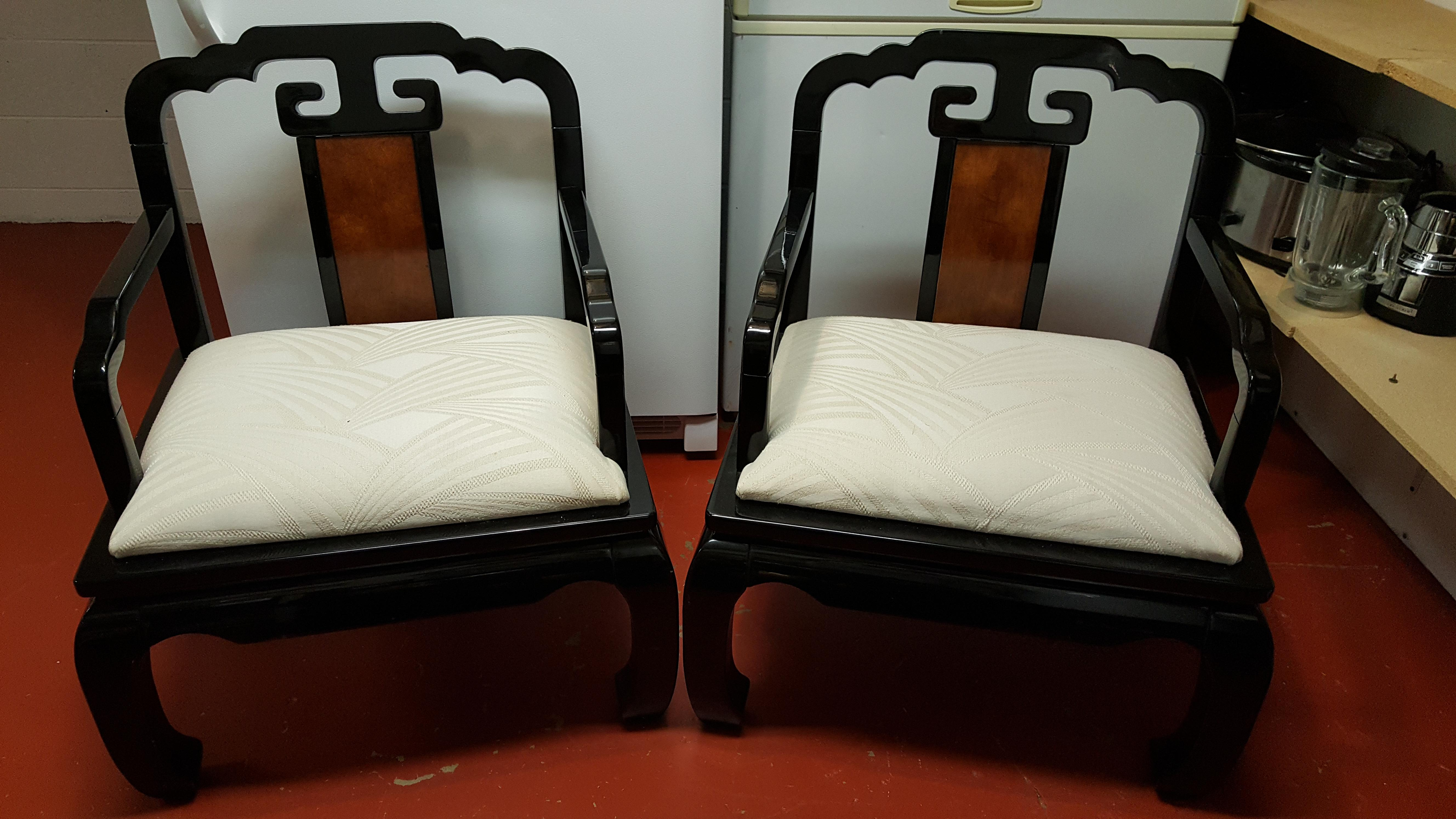 chinoiserie schnadig horseshoe chairs a pair image 3 of 6