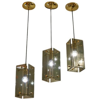 Set of Three Italian 1960s Pendants in the Manner of Fontana Arte
