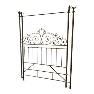 Metal Antique Finish Queen Size Canopy Bed
