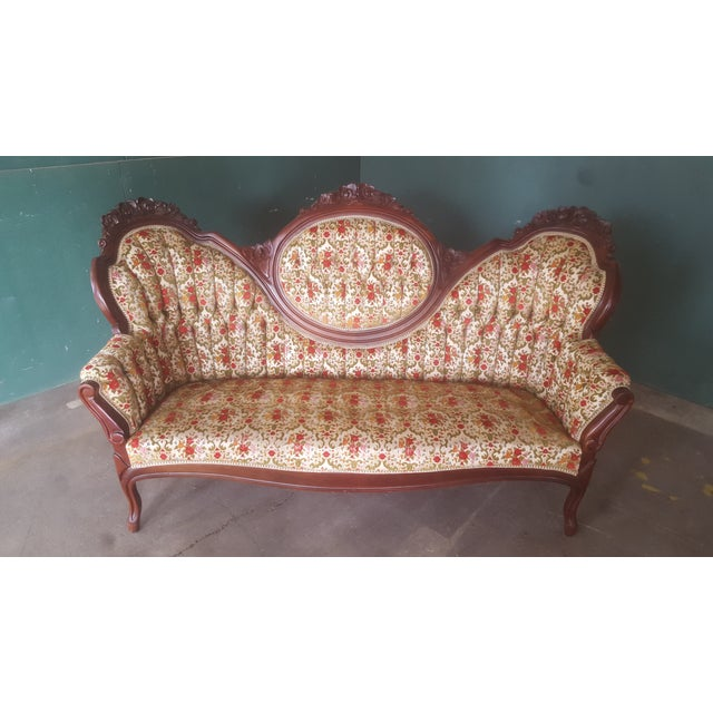 Antique Carved Wood Victorian Loveseat - Image 2 of 8