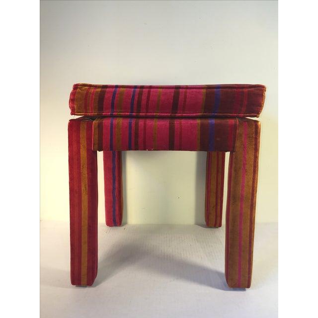 Mid-Century Stool with Pink Larsons Velvet Fabric - Image 3 of 5