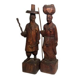 Vintage Korean Carved Wood Figures - A Pair