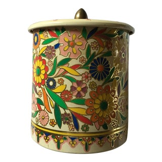 Mid-Century Floral Biscuit Tin Container