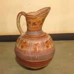 Image of Hand Painted Mexican Pottery Pitcher