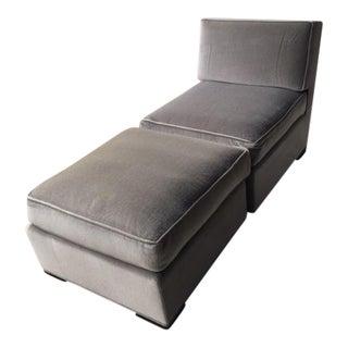 Donghia Silver Grey Mohair Slipper Chair & Ottoman