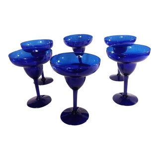 Vintage Cobalt Blue Margarita Glasses - Set of 6