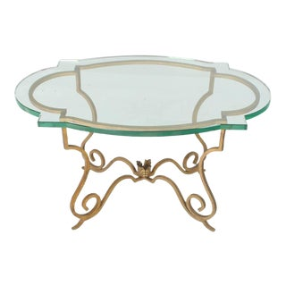 Forged Gold Gilt Iron Base Figural Glass Oval Side Occasional Table