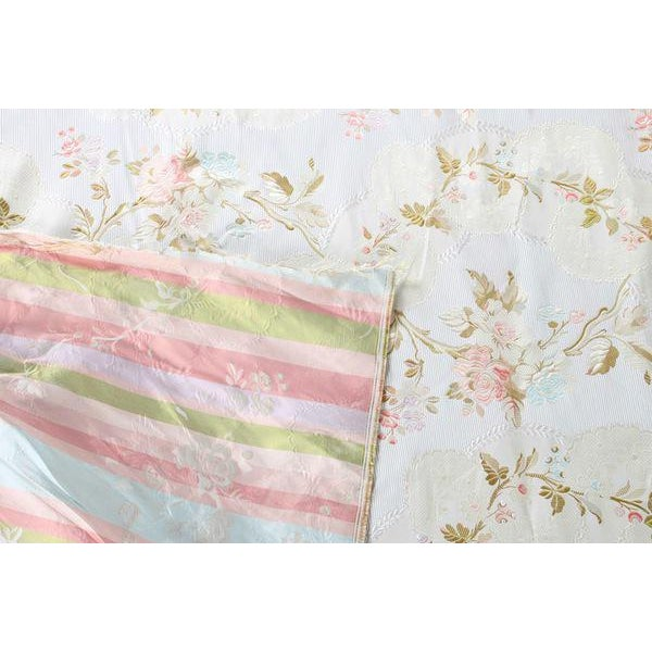Roll of 7 Yards Heavy Floral Embroidered Silk Brocade Satin Upholstery Fabric - Image 8 of 9