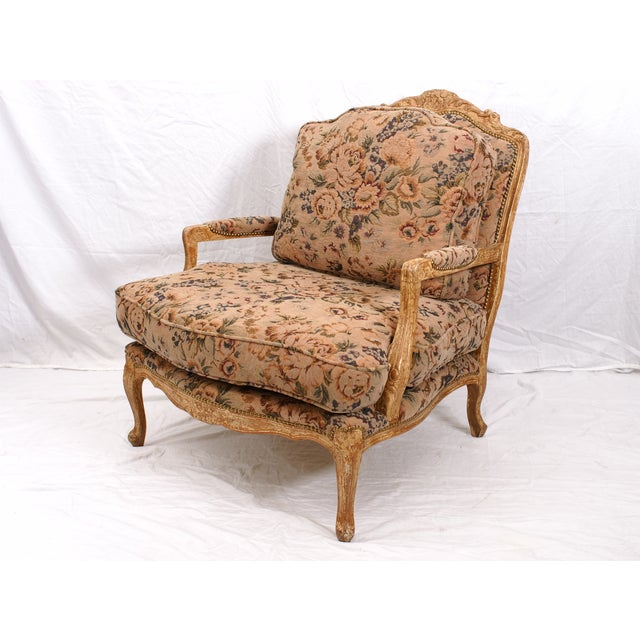 Large Floral Fauteuil Chair - Image 2 of 4