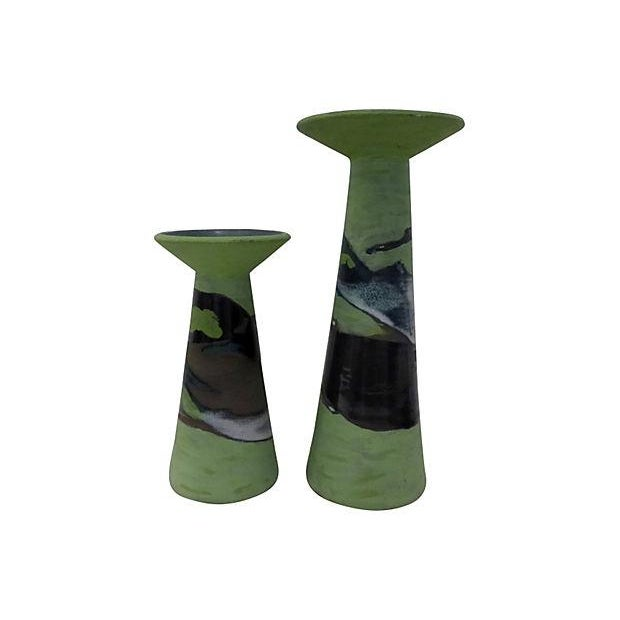 Handmade Partial Glazed Candle Holders - Pair - Image 1 of 5