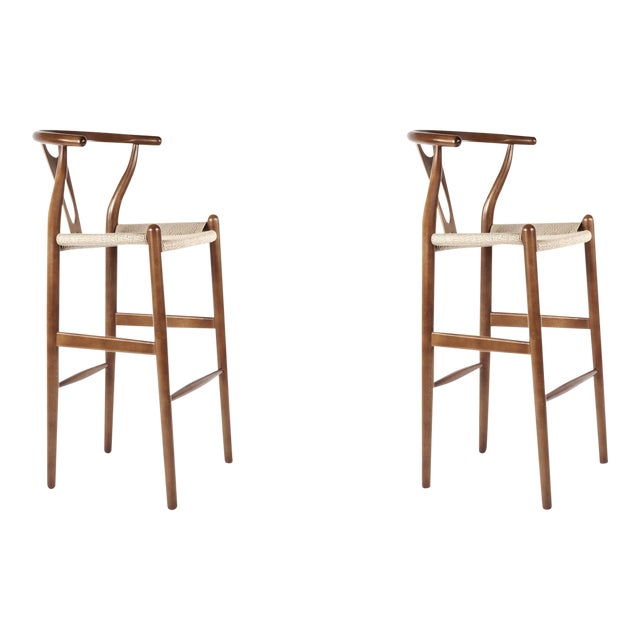 France & Son Walnut Wishbone Barstools - A Pair - Image 1 of 3