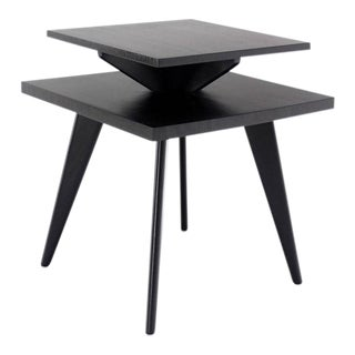 Pair of Black Lacquer Square Step Side Tables on Tapered Legs
