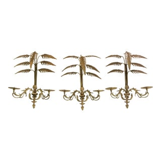 Brass Palm Frond Candle Sconces - Set of 3