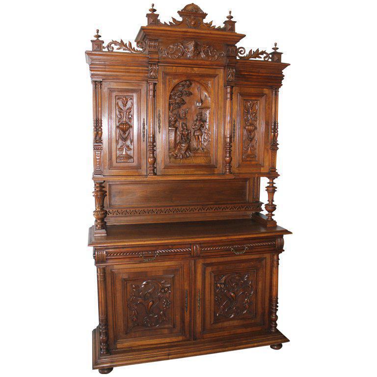 19th C. French Henri II Monumental Walnut Buffet