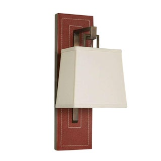 Paul Marra Leather Back Sconce with Tapered Linen Shade