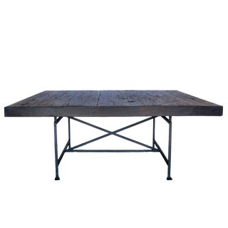 Custom Industrial Style Reclaimed Wood Square Dining Table With Iron Base