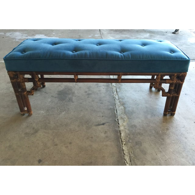 Vintage Chinoiserie Rattan Bench - Image 3 of 5