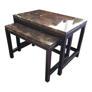Iron & Marble Top Nesting Tables - A Pair