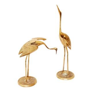 Vintage Solid Brass Cranes - A Pair