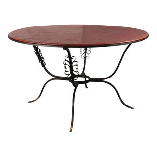 Wood Top Iron Table