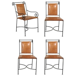 Iron and Leather Dining Chairs - Set of 4