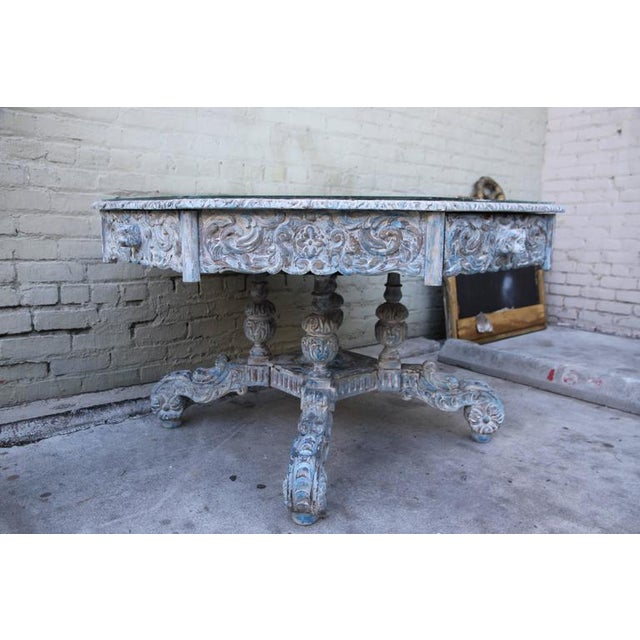 French Provincial Octagonal Painted Center Dining Table - Image 5 of 8