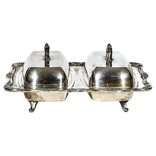 1950s Silver-Plate Double Butter Server