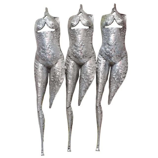 "Image of Textural, Brutalist and Dimensional ""Three Torsos Female Muse Wall Sculpture"""