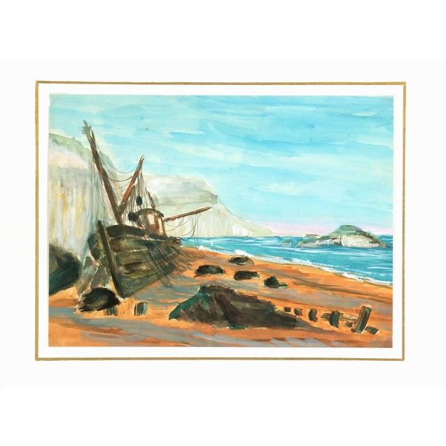 Vintage Seaside Ship Watercolor Painting, C. 1960 - Image 3 of 3