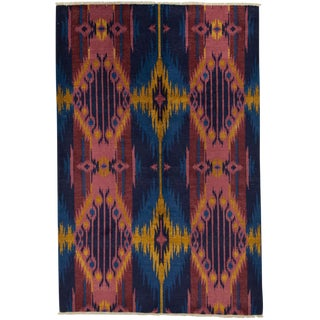 "Ikat, Hand Knotted Area Rug - 6' 1"" x 9' 1"""