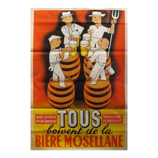1950 French Vintage Art Deco Beer Poster, Biere Mosellane