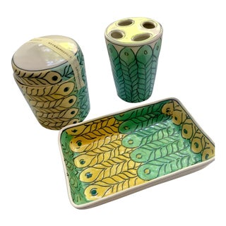 New Anthropologie Peacock Bathroom Accessories - Set of 3