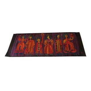 Vintage Mid-Century Modern Polish Wool Tapestry