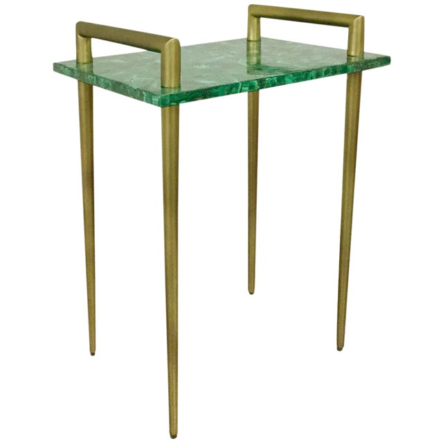 Malachite Stone & Metal Handle Side Table - Image 1 of 5