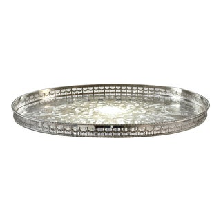 "English Sheffield Silver Plate 21"" Oval Gallery Tray"