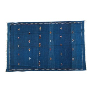 Large Blue Berber Rug- 5′ × 7′11″