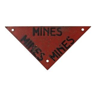 Vintage Warning Sign for Mines