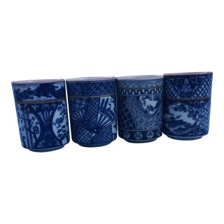 Blue & White Chinoiserie Cups - Set of 4