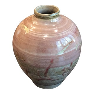 Vintage Ceramic Pink Vase With Heavy Glaze