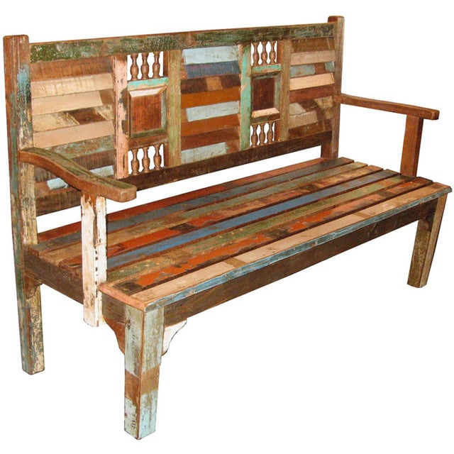 Recycled Wood Bench - Image 1 of 6
