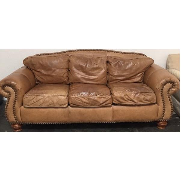 custom leather sofa chairish