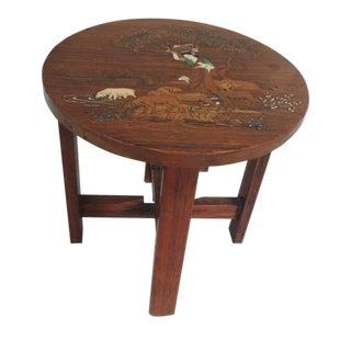 Vintage Indian Inlaid Wood Telephone Table
