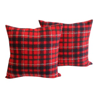 Pair of Red and Blue Pendleton Blanket Pillows