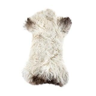 "Aydin Unique Longhair Handmade Sheepskin Rug, Seat Cushion, Brown White, 1'8"" X 3'0"""