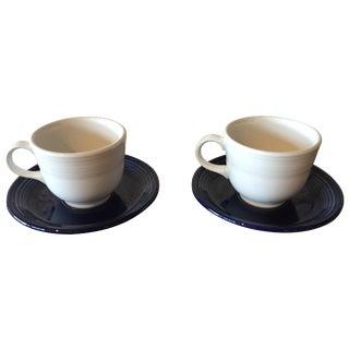 Fiestaware Teacups & Saucers - Set of 4